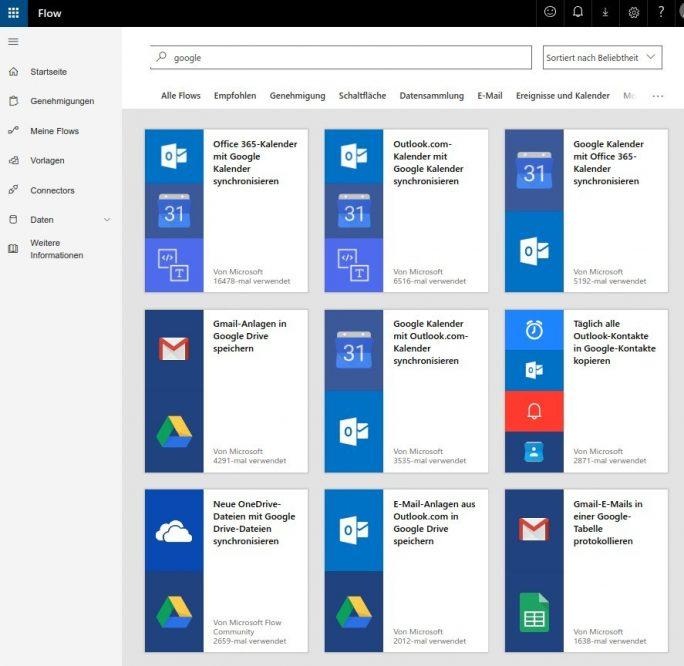 Microsoft Flow verbindet zahlreiche Dienste zwischen der Microsoft- und der Google-Welt (Screenshot: ZDNet.de)