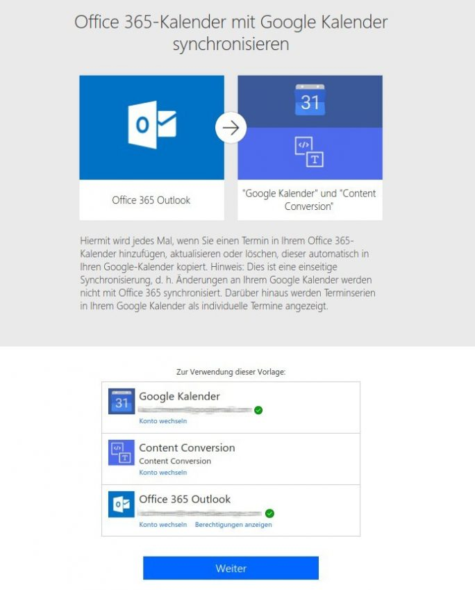 Flow: Outlook 365 nach Google Calendar (Screenshot: ZDNet.de)