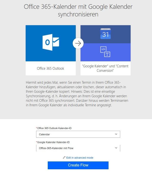 Flow: Outlook 365 nach Google Calendar: Quelle und Ziel auswählen (Screenshot: ZDNet.de)