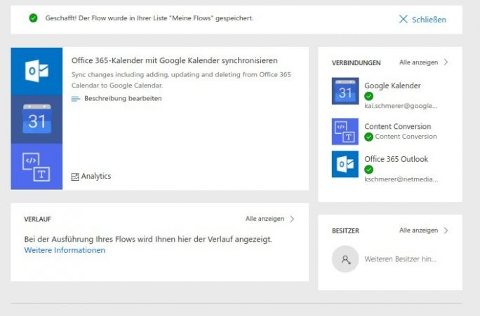 Flow: Outlook 365 nach Google Calendar: Status (Screenshot: ZDNet.de)