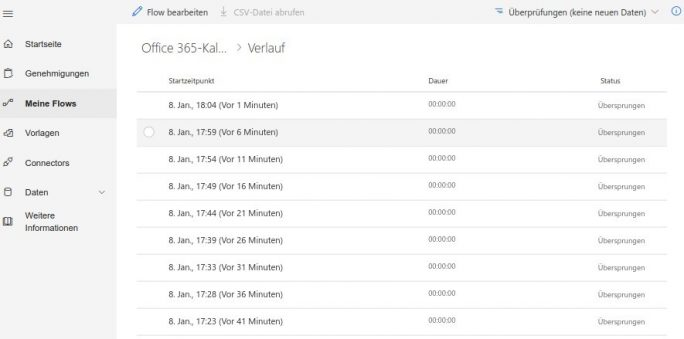 Flow: Outlook 365 nach Google Calendar: Verlauf (Screenshot: ZDNet.de)