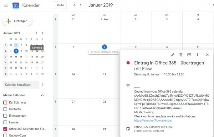Flow: Outlook 365 nach Google Calendar: Flow arbeitet, Events werden angezeigt (Screenshot: ZDNet.de)