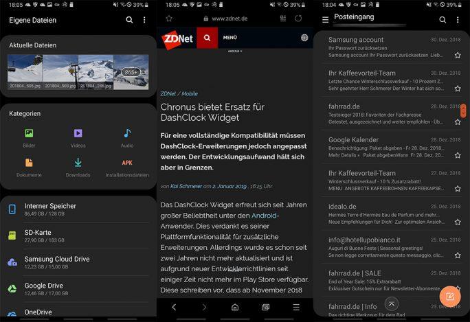 Galaxy Note 9: Einige Samsung-Apps unterstützen das dunkle Design (Screenshot: ZDNet.de)