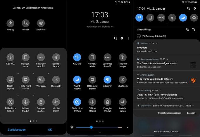 Galaxy Note 9: Nachtmodus-einschalten über Schnelleinstellungen aktivieren (Screenshot: ZDNet.de).