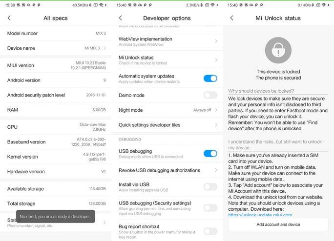 Mi MIX 3: Developer-Options, USB-Debug, Unlock-Status (Screenshot: ZDNet.de)