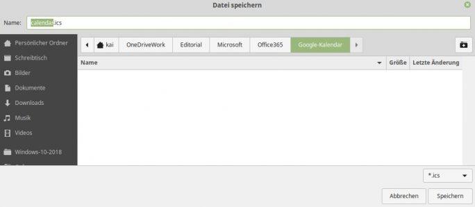 Office-365-Kalender als ICS Datei abspeichern (Screenshot: ZDNet.de)