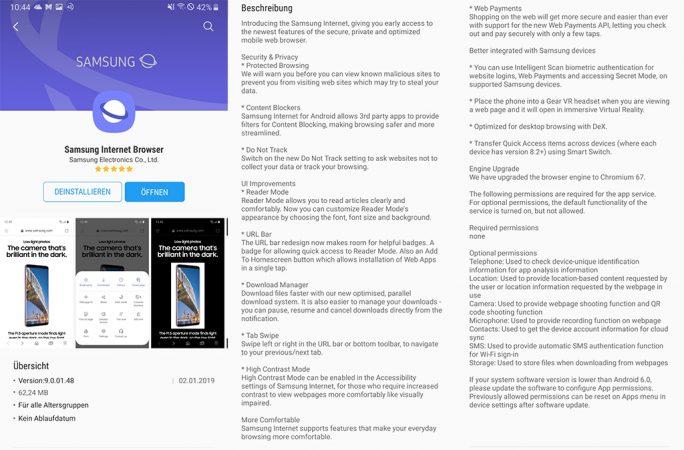 Samsung Internet 9.0.01.48 steht im Galaxy App Store zur Verfügung (Screenshot: ZDNet.de).