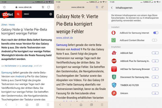 Samsung Internet kann auch mit anderen Android-Smartphone genutzt werden (Screenshot: ZDNet.de).