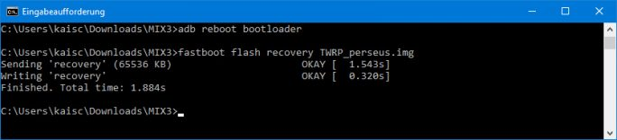 TWRP flashen: fastboot flash recovery TWRP_perseus.img (Screenshot: ZDNet.de)
