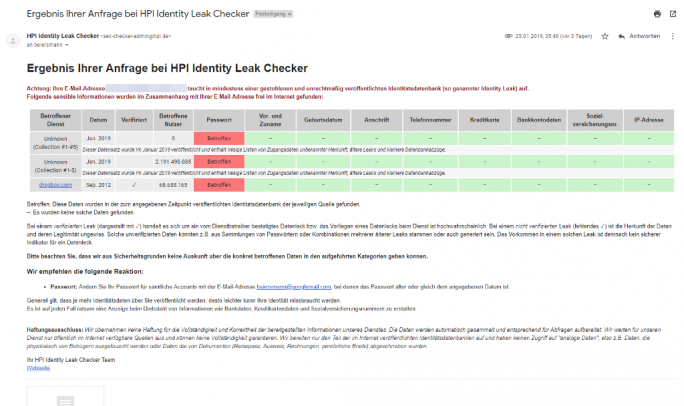 Identity Leak Checker (Screenshot: ZDNet.de)