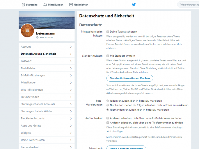 Deine Tweets schützen (Screenshot: ZDNet.de)