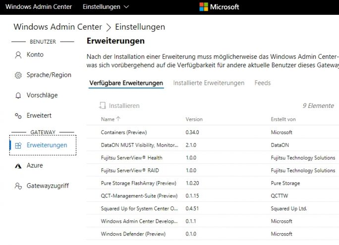 Das Windows Admin Center kann auch mit Windows Server 2016 eingesetzt werden (Screenshot: Thomas Joos).