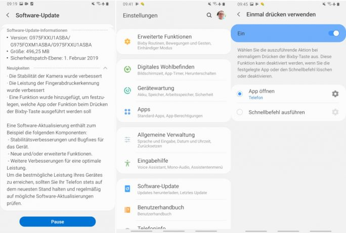 Galaxy S10: Update erlaubt Umbelegung der Bixby-Taste (Screenshot: ZDNet.de).