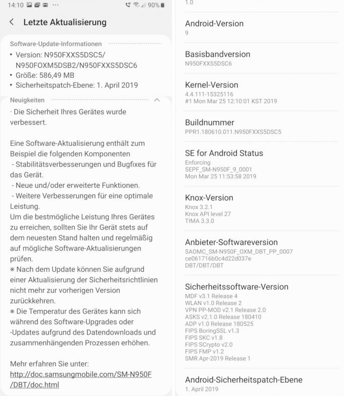 Galaxy Note 8: April-Sicherheitspatches (Screenshot: ZDNet.de)