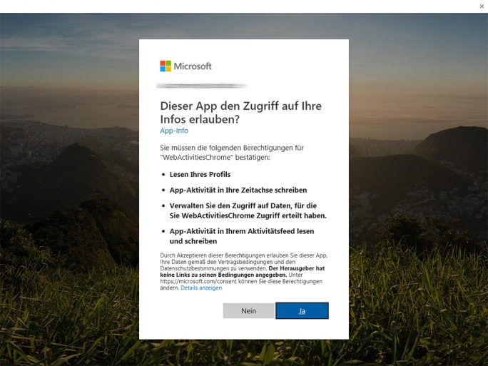 Windows 10: Chrome Browserhistorie in der Zeitleiste (Screenshot: ZDNet.de)