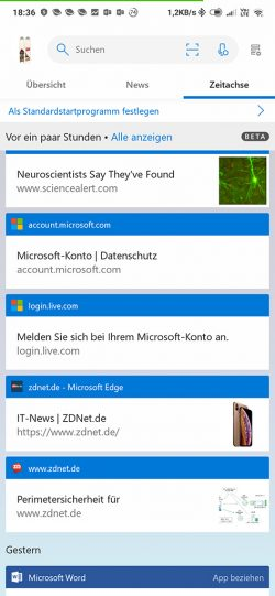 Windows 10: Timeline unter Android (Screenshot: ZDNet.de)