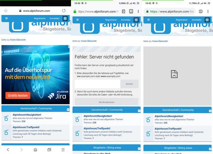 Privates DNS unter Android 9: Samsung Internet (links) hält sich nicht an die DNS-Einstellung, während Firefox (mitte) und Chrome (rechts) den DNS-Server mit Werbefilter nutzen. Offenbar müssen Entwickler ihre Apps noch auf die neue Option für