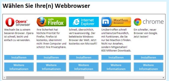 Browser-Auswahlbox unter Windows-2009-2014 (Screenshot: ZDNet.de)