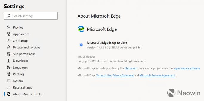 Edge auf Basis von Chromium (Screenshot: Neowin)