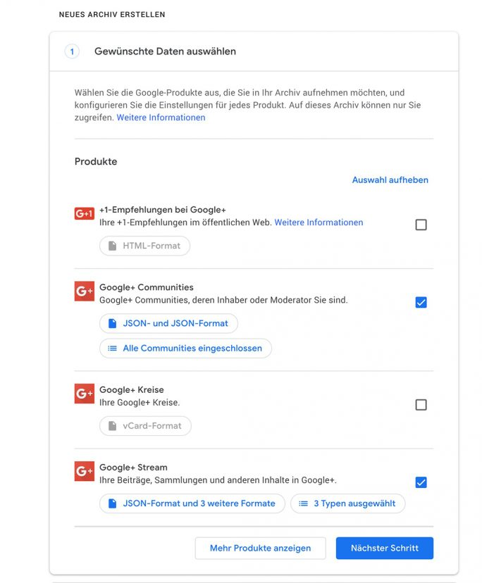 Google+: Archiv im JSON-Format erstellen (Screenshot: ZDNet.de)