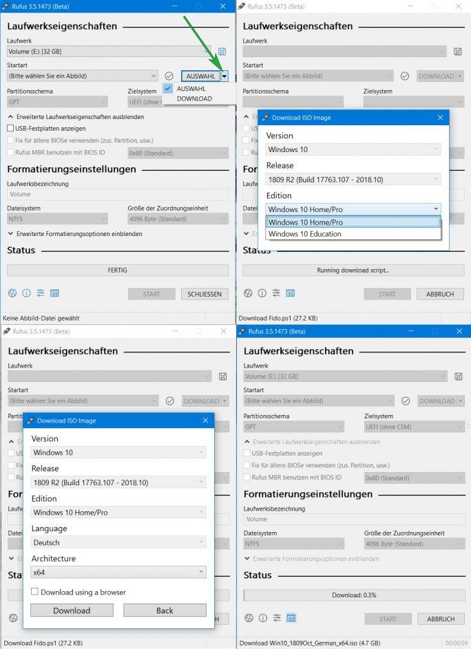 Rufus 3.5 Beta mit ISO-Downloadfunktion (Screenshot: ZDNet.de)