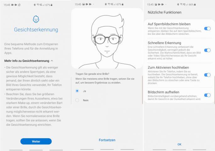 Samsung Galaxy S10: Gesichtsentsperrung (Bild: ZDNet.de)