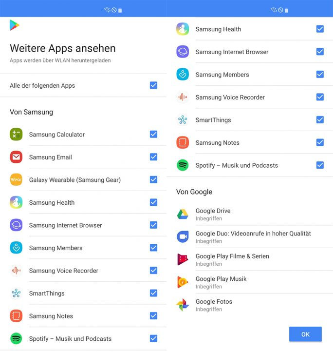Samsung Galaxy S10+: Softwareauswahl (Bild: ZDNet.de)