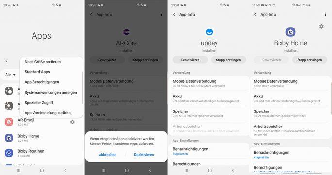 Samsung Galaxy S10+: Versteckte Anwendungen deaktivieren (Bild: ZDNet.de)