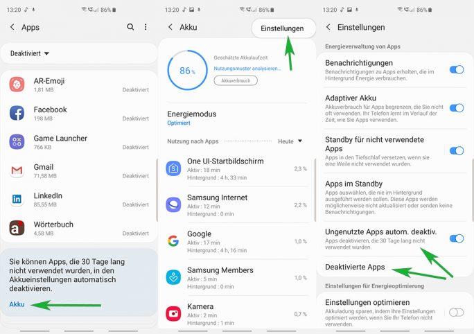 Samsung Galaxy S10+: Apps werden automatisch deaktivert (Bild: ZDNet.de)
