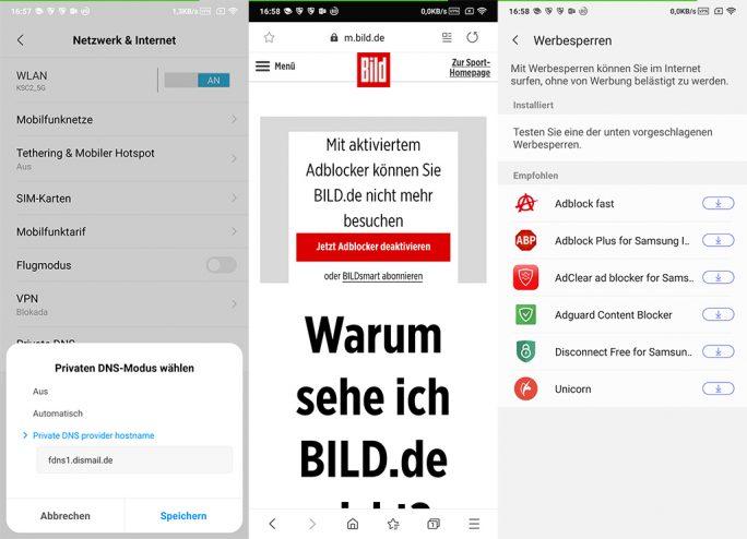 Samsung Internet 9.2 unter stützt die unter Android 9 Pie zur Verfügung stehenden Option Private DNS (Bild: ZDNet.de).