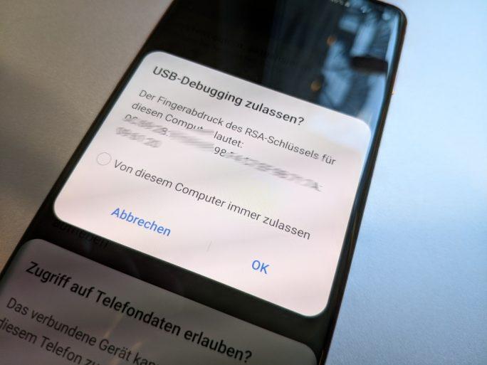 USB-Debugmodus: Zugriff bestätigen (Bild: ZDNet.de)