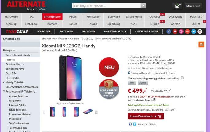 Xiaomi Mi 9 bei deutschen Händlern verfügbar (Bild: ZDNet.de)