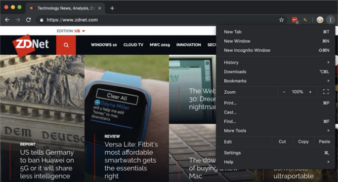 Chrome Dark Mode (Screenshot: ZDNet.com)