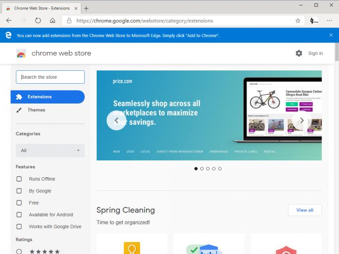 Chrome-Erweiterungen für Edge (Screenshot: ZDNet.de)