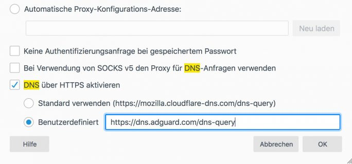 Firefox: DNS over HTTPS (Screenshot: ZDNet.de)
