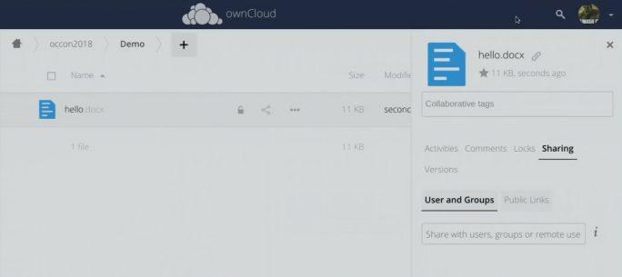 Anwender können Microsoft Office-Dokumente aus Microsoft Office Online-Apps heraus teilen und damit auf Funktionen aus ownCloud setzen (Screenshot: ownCloud).