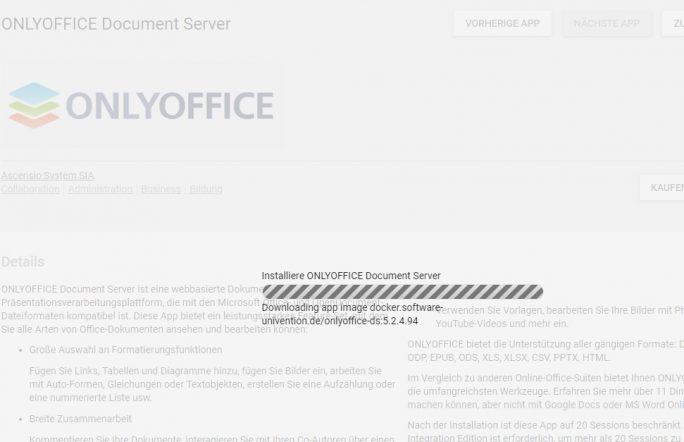 OnlyOffice Document Server kann direkt über den App-Store in UCS installiert und eingerichtet werden (Screenshot: Thomas Joos).