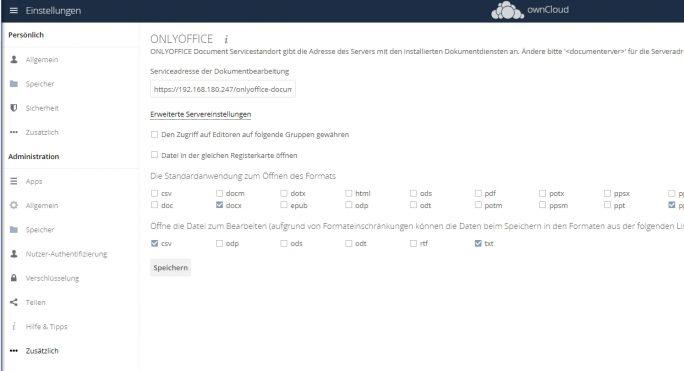 Anbinden von ownCloud an OnlyOffice Document Server (Screenshot: Thomas Joos).