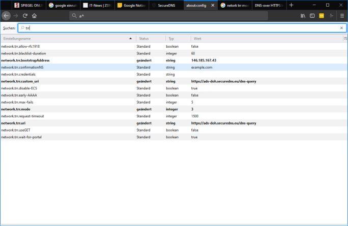 Firefox: TRR-Mode 3 und IP-Adresse des DoH-DNS-Servers eingeben (Bild: ZDNet.de)