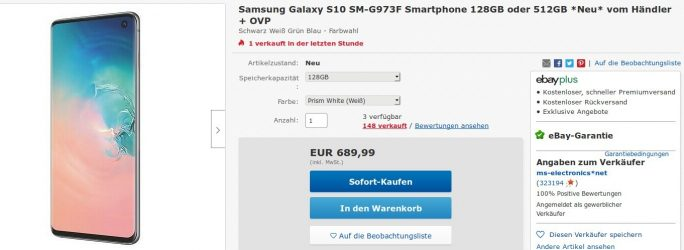 Galaxy S10 für 690 Euro (Screenshot: ZDNet.de)