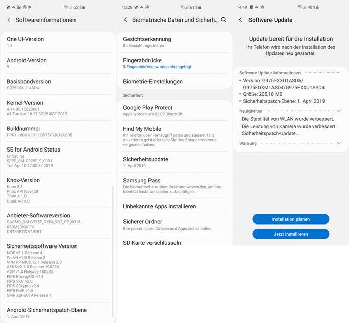 Galaxy S10: April-Update (Bild: ZDNet.de)