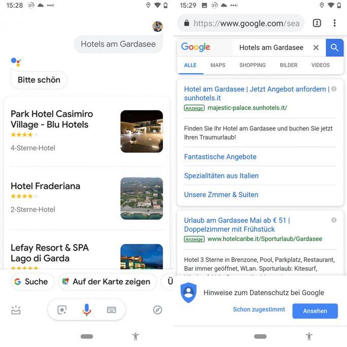 Assistant: Laut Google soll der Assistant bald Werbung anzeigen (Bild: ZDNet.de).