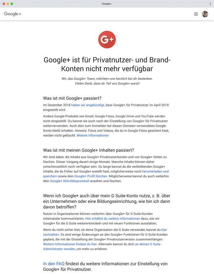 Google+: Letzter Beitrag (Screenshot: ZDNet.de)