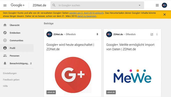 Google+ wird abgeschaltet (Screenshot: ZDNet.de)