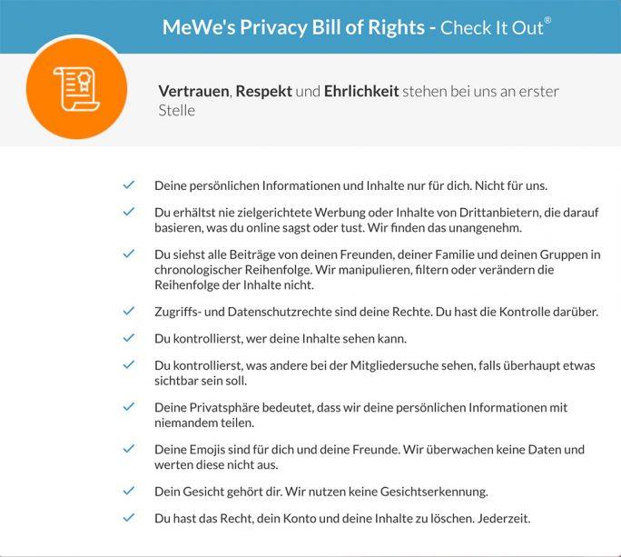 MeWe: Privacy Bill of Rights (Screenshot: ZDNet.de)