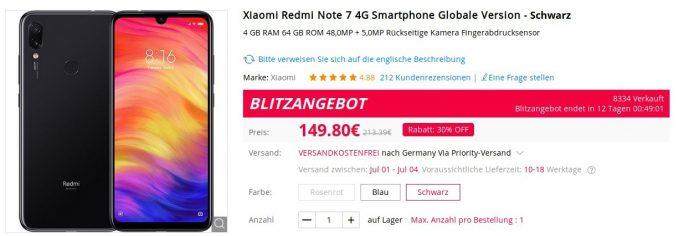 Redmi Note 7 für unter 150 Euro (Screenshot: ZDNet.de)