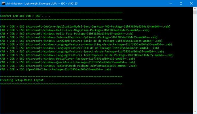 Skript: CAB-Dateien und Verzeichnise werden zur ESD konvertiert (Screenshot: ZDNet.de)