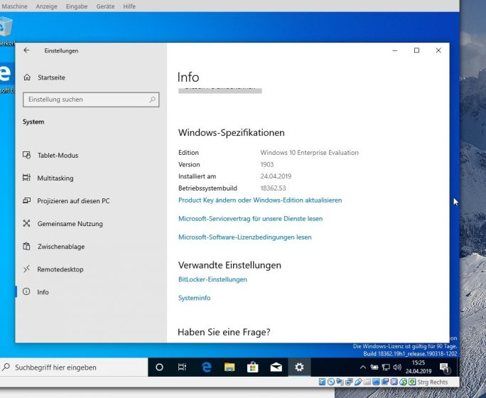 Windows 10 1903 Enterprise (Screenshot: ZDNet.de)