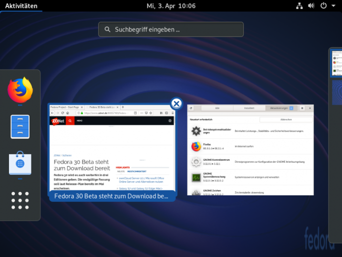 Fedora 30 Silverblue (Screenshot: ZDNet.de)