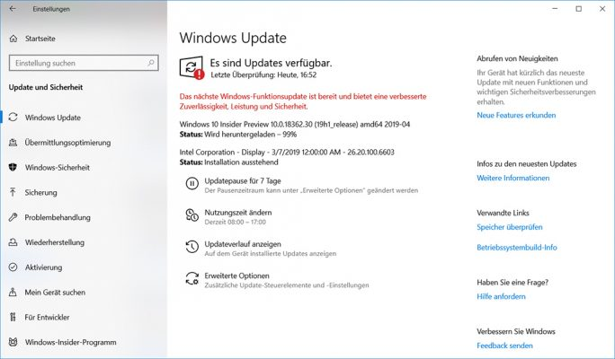 Windows 10 19H1 alias 1903 alias Build 18362.30 alias Mai-2019-Update (Screenshot: ZDNet.de)